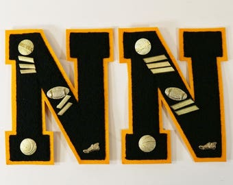 """2 Vintage Wool High School Letter for Sweater or Letterman's Jacket W/Pins - """"N"""""""