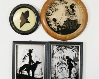 4 Vtg Silhouette Artwork - Deltex & Richards - Art Deco, Martha Washington