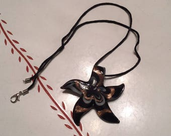 Lampwork Glass Starfish Pendant on Cord Necklace