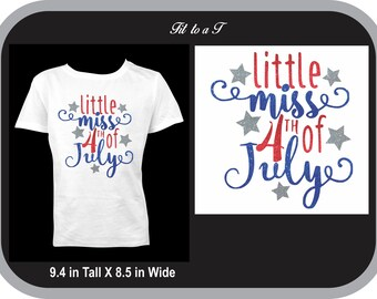 Little Miss 4th of July T-Shirt, Patriotic T-Shirt, Independence Day Shirt