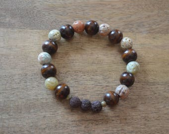 Essential Oil Bracelet - Wood and Green Mix