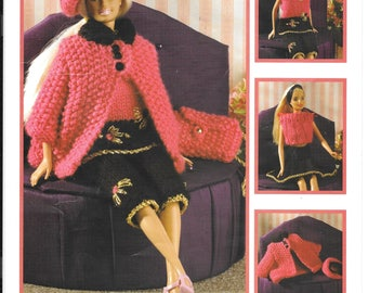 Original knitting pattern for teenage doll clothes in double knitting e.g. Barbie, Sindy