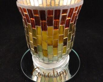 Bronze  Mosaic Glass Votive Holder, Round Mirror Base - Monogrammed, Personalized - Laser Engraved or UV Printed