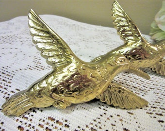 Sale Humming Bird Plaque Homco Wall Decor Gold Set of 2 Vintage blm
