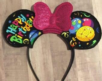 Disney Inspired Happy birthday Ears, disney birthday ears