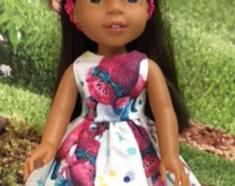 """The trolls are sparkling on this dress that fits 14.5"""" dolls.  Character on bodice may vary.  Handmade in my smokefree pet friendly home."""