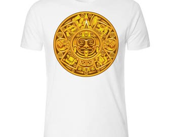 Aztec Design Men's White T shirt