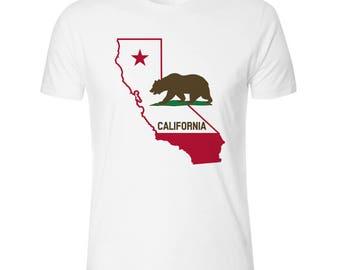 California State Brown Bear Men's White T shirt