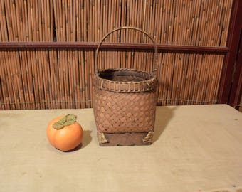 Vintage Southeast Asian Bamboo Ikebana Basket Square Wood Base Small