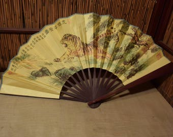 Vintage Chinese Bamboo Folding Fan Silk Paper Leaping Tiger