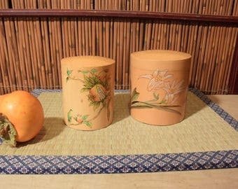 Set of 2 Chinese Bamboo Tea Caddy Tea Container
