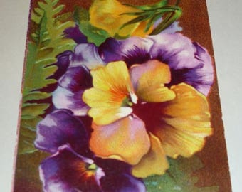 ON SALE till 6/30 Pretty Purple and Yellow Pansies send Best Wishes Antique Postcard