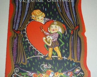 ON SALE till 7/28 Art Deco Style Vintage Valentine - A Serenade
