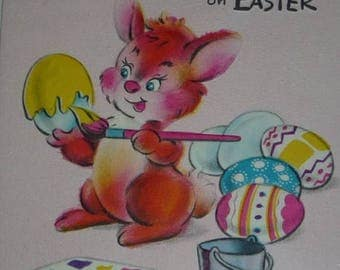ON SALE Bunny Rabbit Painting Eggs Vintage 1955 Rsster Greeting Card