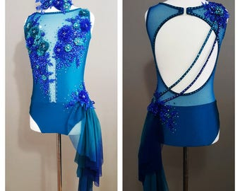 Teal and Royal Blue Solo Costume Leotard With Ombre Side Skirt