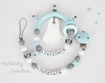 Duo personalized rattle and pacifier matching Set Schnullerkette und Greifling, Pacifier clip, silicone teether personalized