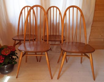 Ercol Quaker Dining Chairs, set of 4, 1950s-1970s