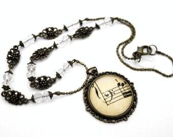 "Necklace Bohemian glass vintage ""old music score: clef""-necklace retro brass"
