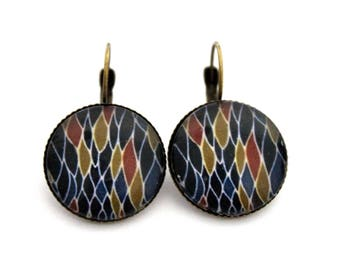 """Earrings sleepers """"Midnight Blue abstract dimples"""" 20mm cabochon"""