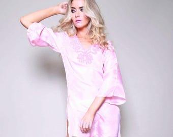 Cuba Silk Beaded Petite Pink Kaftan Shirt Dress / Caftan Top/ Blouse/ short silk beachwear, chic beachwear