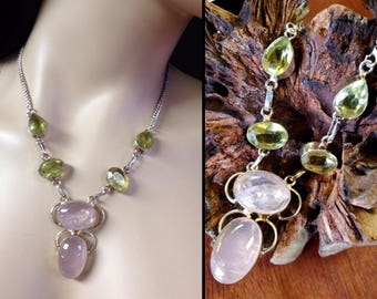 Rose Quartz + Peridot Sterling Silver .925 Statement Necklace One-of-a-kind 17 1/2""