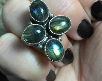 Blue Fire Labradorite + Sterling Silver 925 Statement Ring Size 8 1/2 & 9