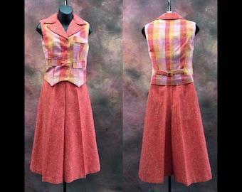 Vintage 70s Culotte Vest Set / Size XS / culotte romper  / culotte jumpsuit / Retro Jumpsuit / Culottes / high waist / Fit and Flair