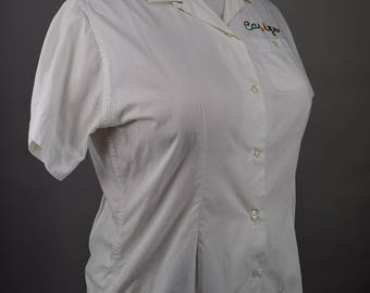 Vintage 50s Women's White Loop Collar Bowling Shirt with Chain Stitching L XL