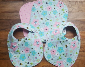 Baby Bib and Burp Cloth Set - Floral
