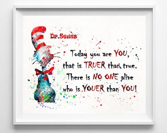 Dr. Seuss Print, Dr. Seuss Art, Dr. Seuss,, Doctor Seuss, Dr. Seuss Poster, Seuss Watercolor, Nursery Posters, Type 3, Valentines Day Gift