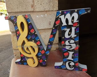 Music , Wood letter M for Music with a treble clef