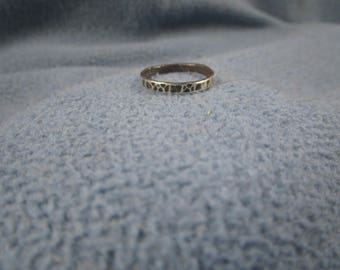 Solid Sterling Silver Midi, Stackable, Band Ring with Random Hammer Textured Pings and Antique Finish