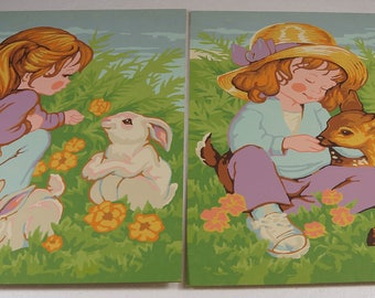Vintage Paint by Number Paintings young girl with deer fawn & bunny rabbits