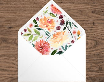 A7 Envelope Liner - Watercolor Floral - Printable Instant Download PDF