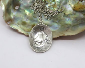 sailboat  necklace, sailing necklace, nautical necklace, silver plate necklace