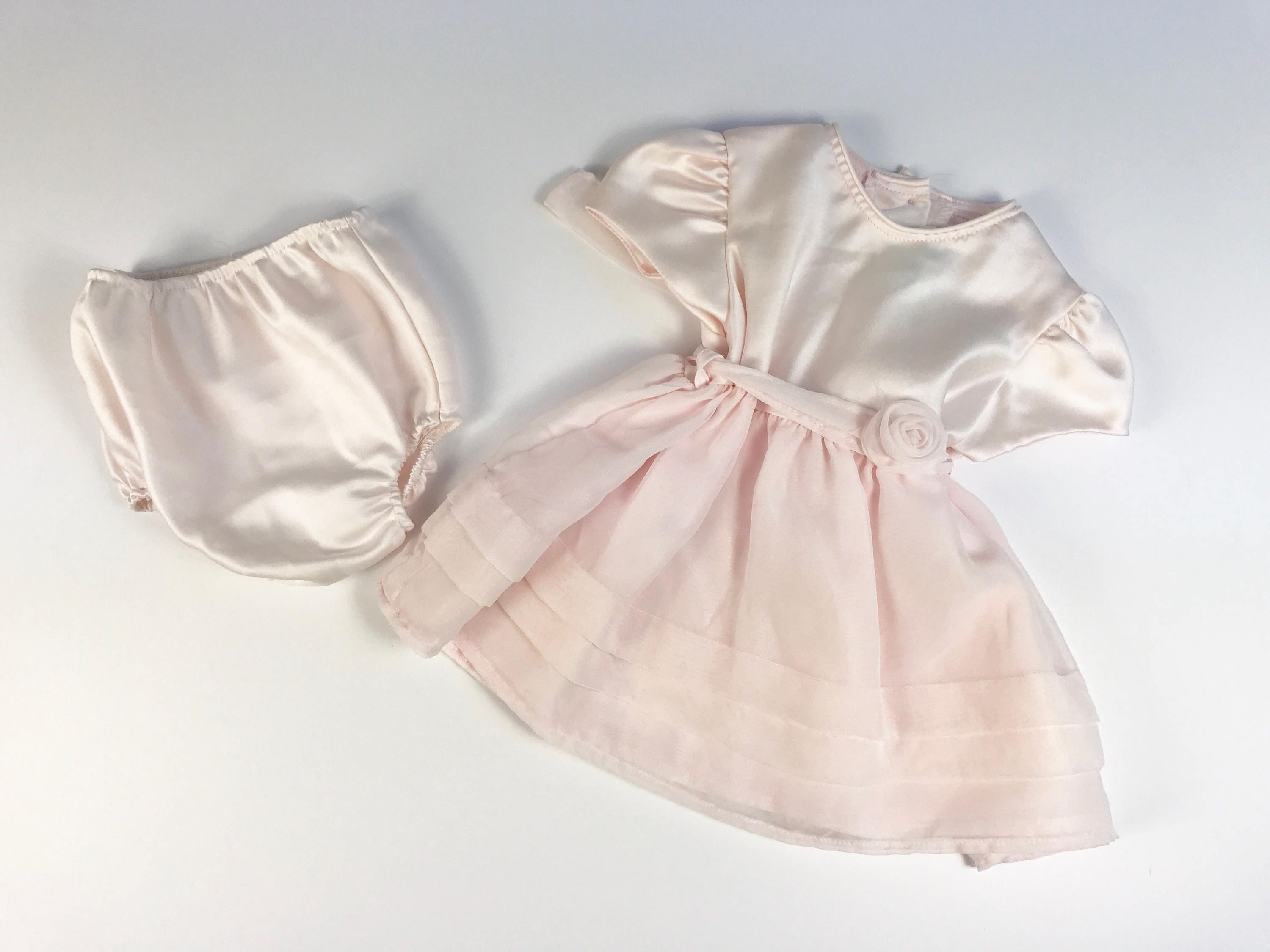 Vintage Pink Satin Baby Girl S Dress With Matching Diaper Cover Size