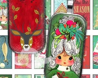 80 % off Graphics SaLe Vintage Retro Christmas 1 x 2 Digital Collage Sheet Rectangle Domino Images for Pendants, Scrapbooking, Decoupage Pap