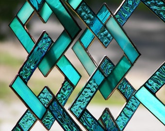 Turquoise Stained Glass-Stained Glass Suncatcher-Stained Glass Mobile-Turquoise Suncatcher-Turquoise