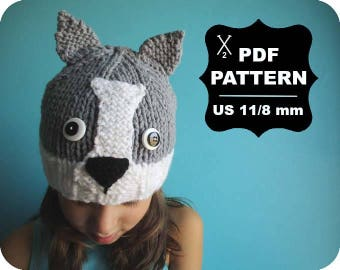 English-French Two Needle KNITTING PATTERN / Digital Download / #52 / Knitted Wolf Hat / 6-16M to 5 years-Adult / US11 / 8mm