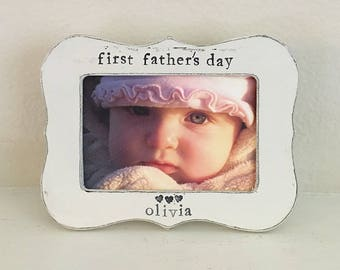 First Father's Day gift for Dad New daddy personalized picture frame first Father's Day Dad daddy from child from baby - flowers in December