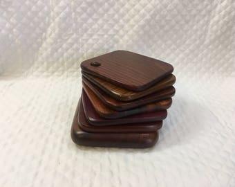 Mahogany Wood Finish Square Ring Toss Coasters, Set of 6 Wood Coasters with Stand, Ring Toss coasters, Dark Wood Coasters, Coasters on Dowel