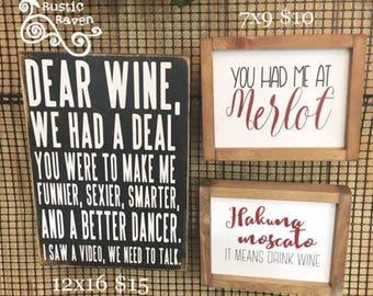 Dear Wine Sign