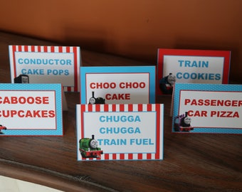 Thomas and Friends Themed - Food Tent Cards - Thomas the Train (Thomas, Percy, James, Diesel, Toby, Emily, Etc.)