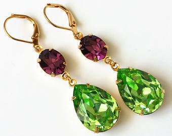 Peridot and Amethyst Drop Earrings Swarovski Double Drop Earrings Green and Purple Gold Drop Earrings Wedding Jewelry Bridesmaids Jewelry
