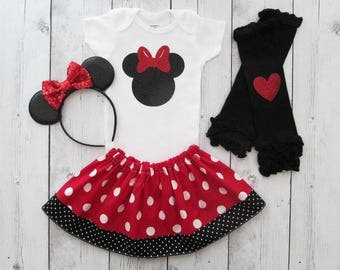 Minnie Mouse Halloween Costume - baby girl halloween outfit, comfortable toddler costume, minnie halloween red, baby first halloween