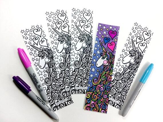 Unicorn Unicorn bookmark coloring