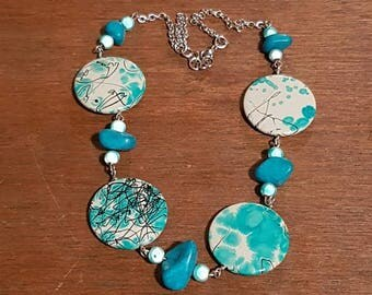 Beautiful blue mixed bead necklace