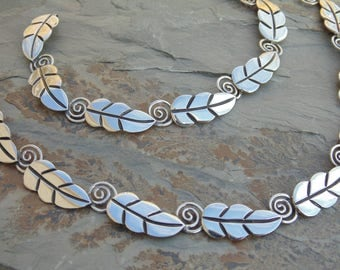 Vintage Mid-Century Taxco Sterling Silver Leaf with Spiral Stem Link Necklace and Bracelet Set