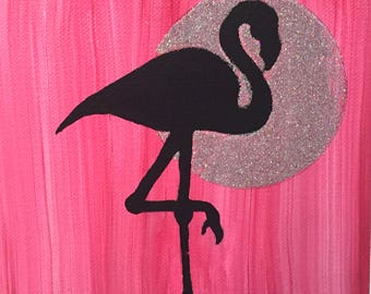 Flamingo Silhouette Painting with Glitter Moon