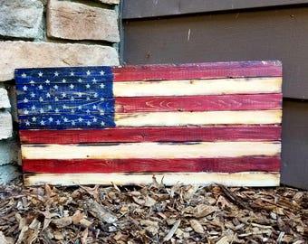 Rustic Wooden American Flag